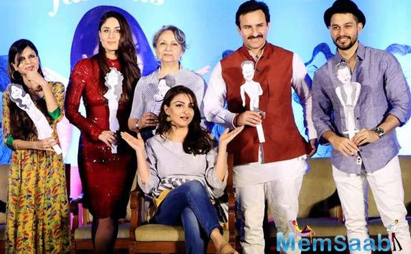In a rare picture perfect moment, the entire family, including Sharmila Tagore, Saif Ali Khan, Kareena, Saba Ali Khan and Soha's husband Kunal Kemmu gathered on the stage.