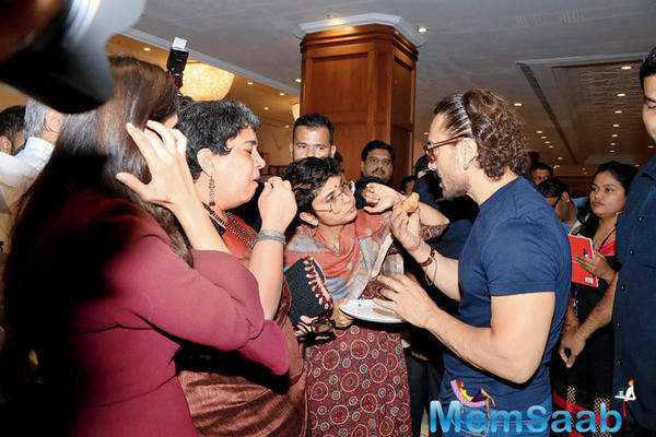 Aamir Khan is caught in a candid moment with ex-wife Reena Dutta and wife Kiran Rao