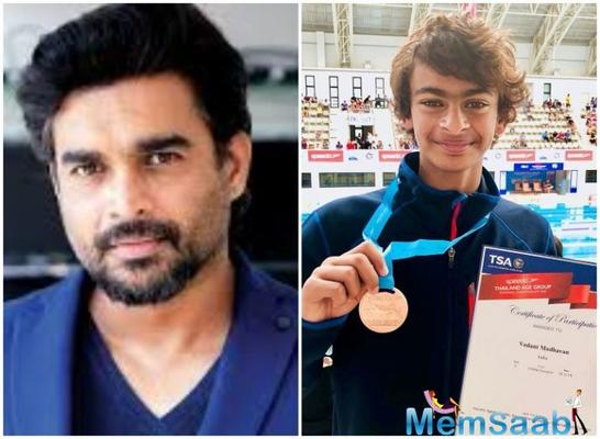 R. Madhavan's 12-year-old son won a bronze medal for India in the 1500 meter freestyle at the Thailand Age Group Swimming Championship 2018.