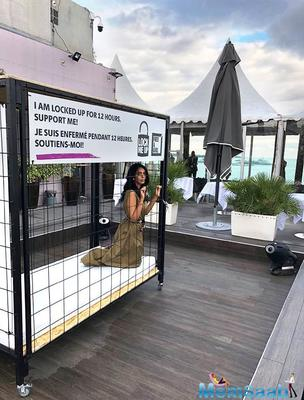 Cannes 2018: Mallika Sherawat locks herself in a cage as part of lock-me-up campaign