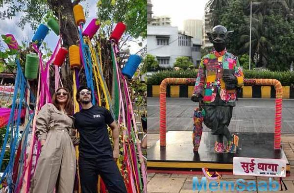 Sui Dhaaga: Anushka Sharma and Varun Dhawan Yarn Bomb Mumbai's Iconic spots