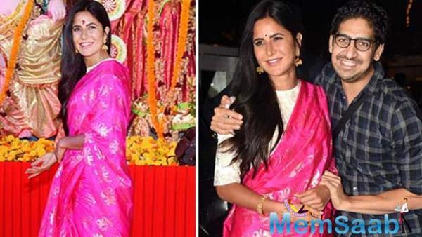 Katrina Kaif bonds with director Ayan Mukerji during durga puja