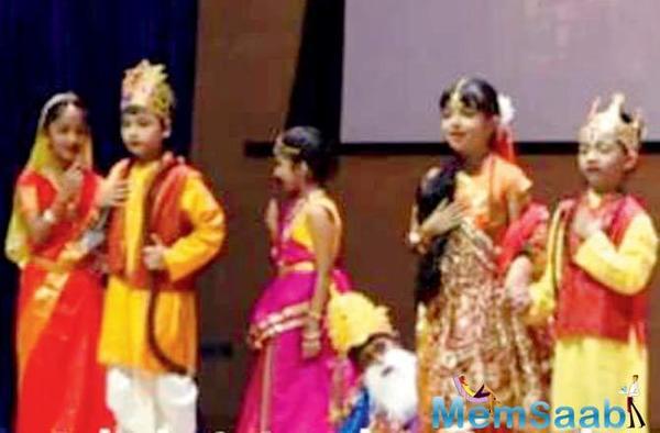 Aaradhya Bachchan and Azad Rao Khan on stage together