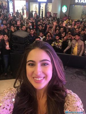 Donning an ethnic attire, Sara Ali Khan looked ravishing in a golden outfit as she interacted with her fans. The actress was left overwhelmed by the immense love showered on her by the fans