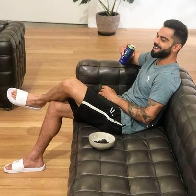 """Virat's caption on his photo pointed out that he is in a relaxation mode and is happy as he wrote, """"A smile is the best way to unwind."""""""