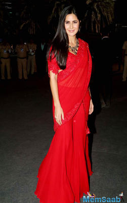 In an indo-western red saree and a beautiful neck-piece, Katrina Kaif looked radiant in this outfit.