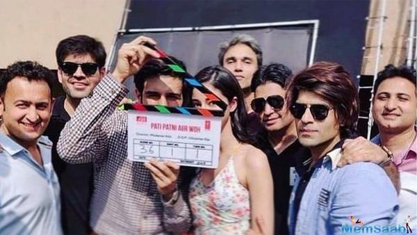 Kartik Aaryan on sets of Pati Patni Aur Woh remake