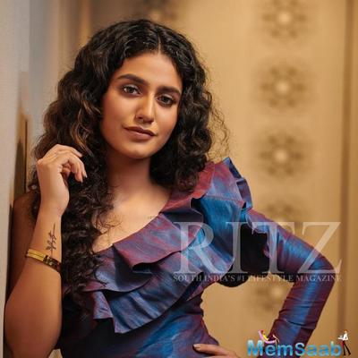 Priya Prakash Varrier stuns in a blue ruffled top on the cover page of a magazine; Take a look