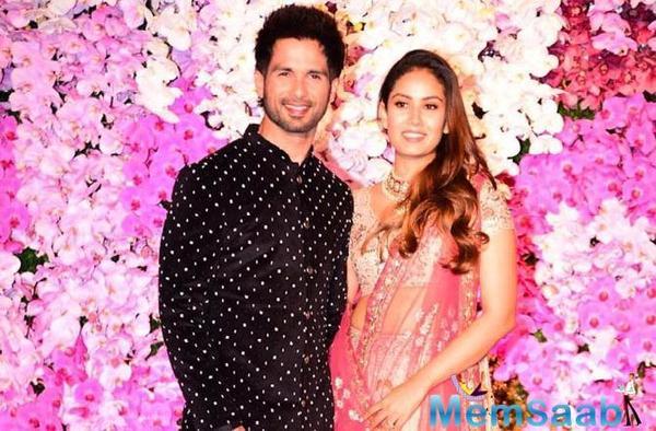 Shahid Kapoor with wife Mira attended Akash Ambani and Shloka Mehta's wedding party at Jio World Centre in Bandra-Kurla-Complex
