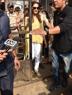 The paparazzi also snapped Madhuri Dixit in Mumbai's Juhu area where she voted for the Lok Sabha Elections.
