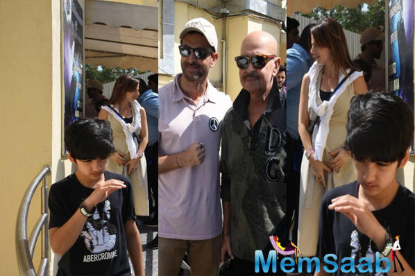 Today, the paparazzi snapped Hrithik Roshan along with his dad Rakesh Roshan and ex-wife Sussanne Khan and their kids outside a theatre at Mumbai's Juhu's area.