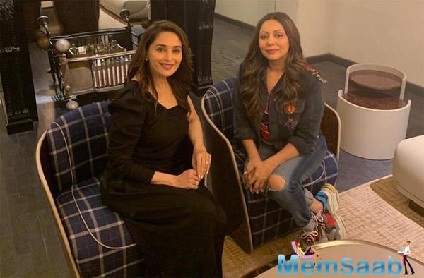 Gauri Khan gets a visit from Madhuri Dixit Nene at her store in Mumbai