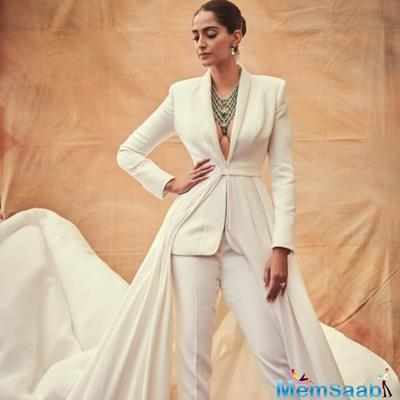 While the world is swooning over Sonam K Ahuja's stunning appearances at Cannes 2019, her latest look in a white tux with a train has taken over the internet.