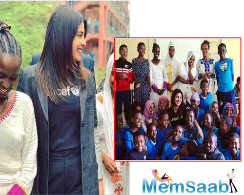 The 'Quantico' actress, went to Addis Ababa and met young children who are supported by the program.