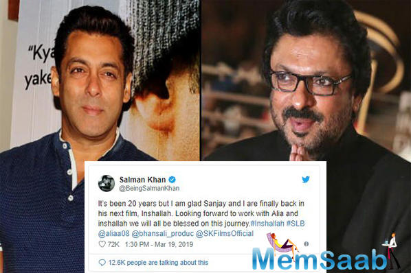All of Salman Khan fans were over the moon when the actor took to social media to announce the after almost 20 years, he will be collaborating with ace filmmaker Sanjay Leela Bhansali for the film Inshallah.