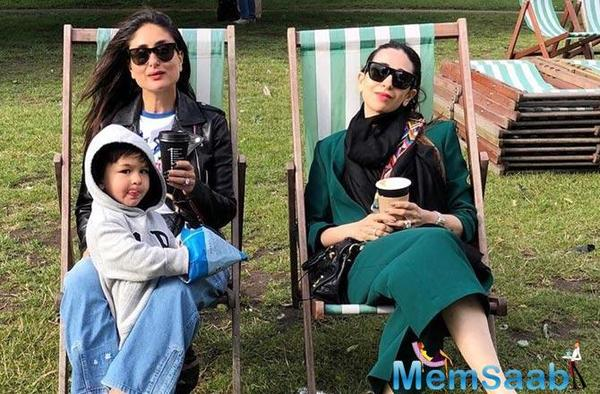 Taimur Ali Khan sticks his tongue out while relaxing with mum Kareena and aunt Karisma