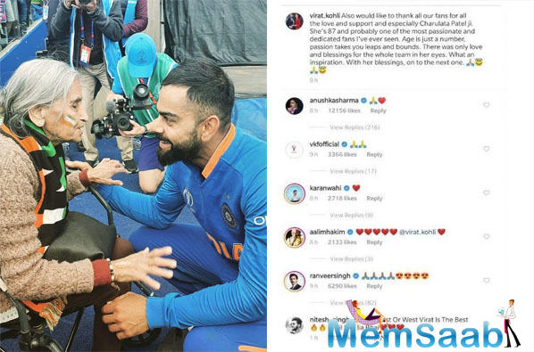 Anushka Sharma, Ranveer Singh react on Virat Kohli's post with 87-year-old fan