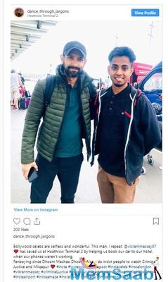 Vikrant Massey helps an Indian fan stuck at London airport; fan shares the story