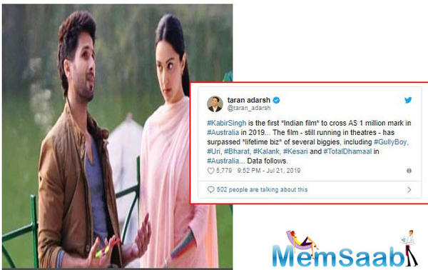 Kabir Singh, has, in fact, created history in Australia as it has become the only Indian film in the nation to cross Rs 1 million mark.