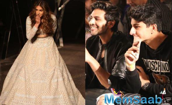 Kartik Aaryan and Ibrahim Ali Khan cheer for Sara Ali Khan as she walks the ramp