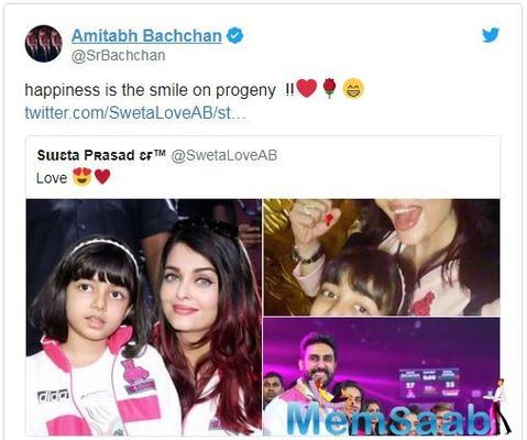 Amitabh Bachchan shares pics of Aishwarya Rai and Aaradhya, says 'Happiness is the smile on progeny'