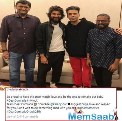 Vijay Deverakonda shared a picture with Karan Johar and Bharat Kamma announcing that the film is going to be made in Hindi.