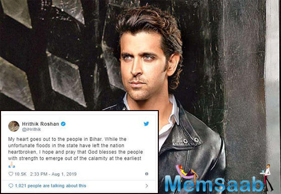 Bihar floods: 'Super 30' actor Hrithik Roshan prays for everyone's safety