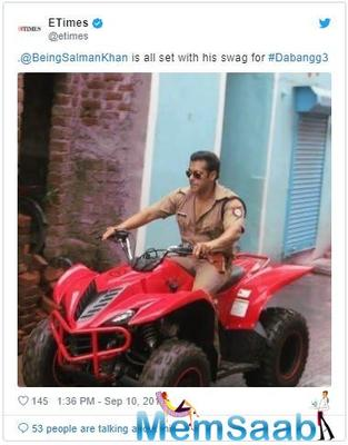 Don't miss: Salman Khan snapped riding an ATV bike on the sets of 'Dabangg 3'