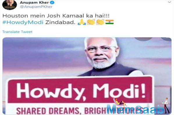 Anupam Kher, Randeep Hooda reverberate the 'Howdy Modi!' 'josh'