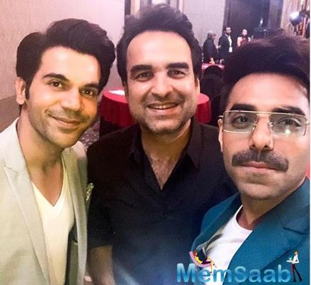 'Stree' co-stars Rajkummar Rao, Aparshakti Khurana and Pankaj Tripathi reunite for a fun selfie
