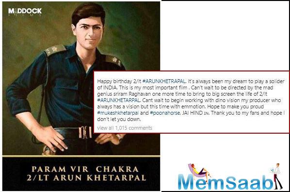 Varun Dhawan to play war hero Arun Khetrapal in Sriram Raghavan's directorial
