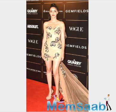 Ananya Panday made the heads turn in her off-shoulder body cacoon dress.