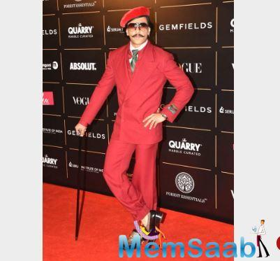 Bajirao Mastani actor Ranveer Singh opted for a red suit.