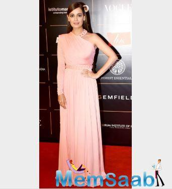 Dia Mirza looked pretty in an asymmetrical blush pink gown she opted to attend the ceremony.