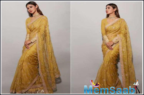 Recently, for a promotional event, the star opted for a stunning yellow saree with a matching full sleeve blouse.