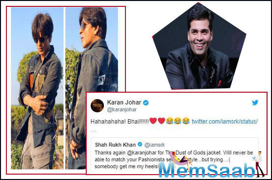 The actor on Sunday, October 20, took to Twitter to appreciate Karan's fashion sense, and thank him for presenting him a jacket from the vintage label.