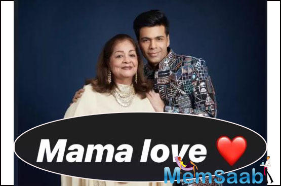 Mama Love! Karan Johar shares a beautiful click with his mother Hiroo Johar