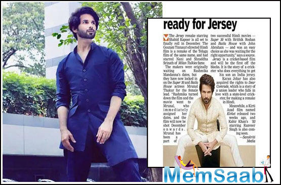 Shahid Kapoor gets ready for Jersey