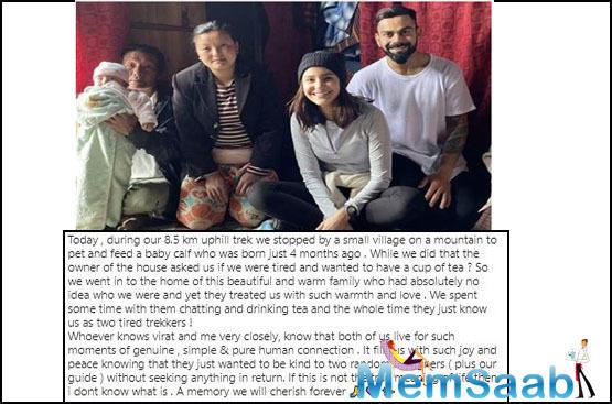 Anushka Sharma pens her memorable trekking experience with husband Virat Kohli