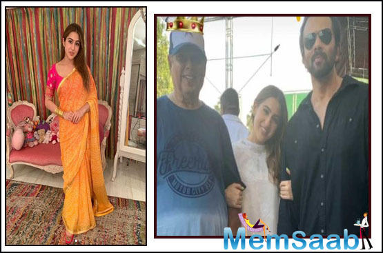 Sara Ali Khan beams as she shares a frame with her directors David Dhawan and Rohit Shetty