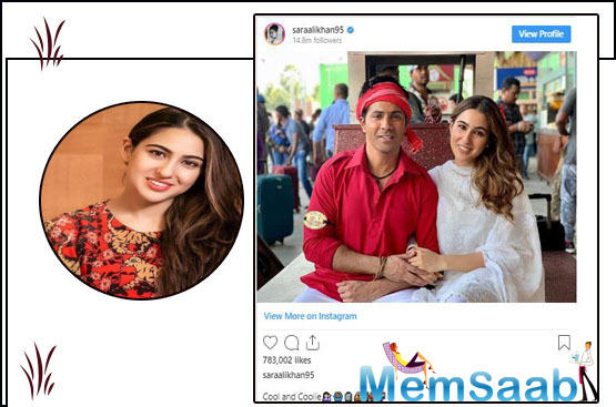 Sara Ali Khan shares a sweet photo with 'coolie' Varun Dhawan; check it!
