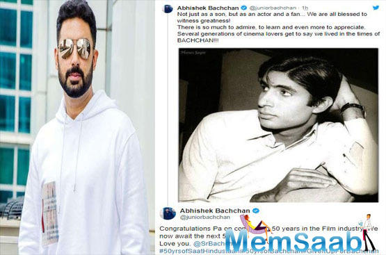 As Amitabh Bachchan completed 50 years on Friday in the film industry his son Abhishek Bachchan shared a heartfelt message.