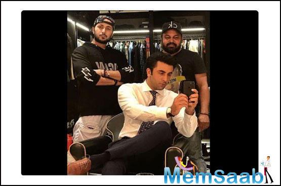 Ranbir Kapoor looks dapper as he clicks a selfie on the sets of an ad shoot