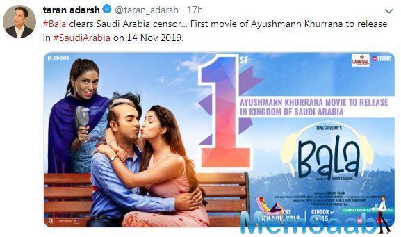 Ayushmann Khurrana's 'Bala' becomes first film of him to be released in Saudi Arabia