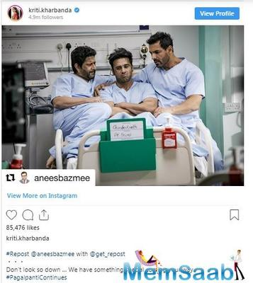 Kriti captioned the picture as, '#Repost @aneesbazmee with @get_repost Don't look so down … We have something special coming your way. #PagalpantiContinues @arshad_warsi @pulkitsamrat @thejohnabraham '