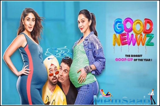 """Karan Johar shared the poster and wrote, """"Intertwined by the biggest goof-up & there's no escape! GoodNewwzTrailer out at noon."""""""