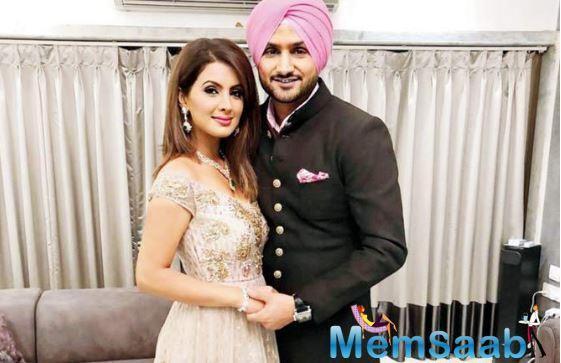 Geeta Basra walks the ramp with husband Harbhajan Singh