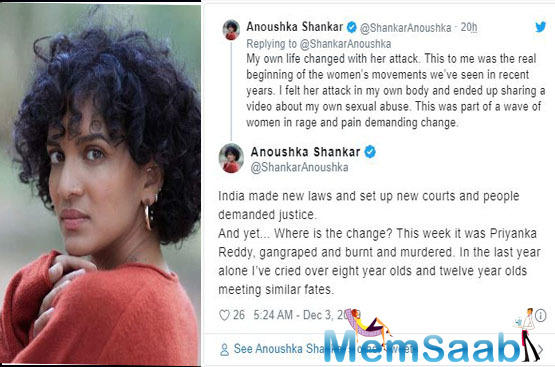 """India in particular is no country for women,"" Anoushka Shankar reacts strongly against Hyderabad rape case"