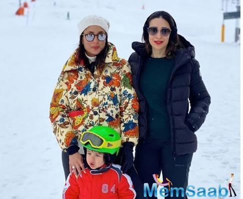 Karisma Kapoor enjoys a snowy Swiss vacay with sister Kareena, Saif and Taimur