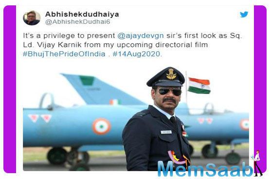 'Bhuj: The Pride of India'- Ajay Devgn's first look as IAF Sq. Ld. Vijay Karnik unveiled